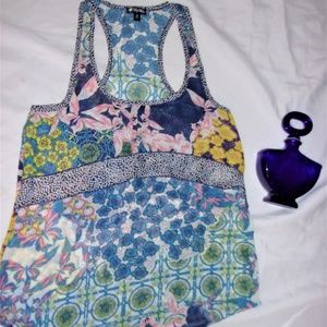 x small floral sheer tank top womans shirt top